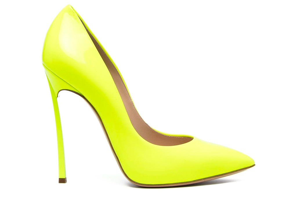 neon heels, yellow, sandals, casadei