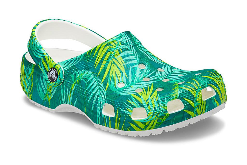 crocs, clogs, clouds, tropical