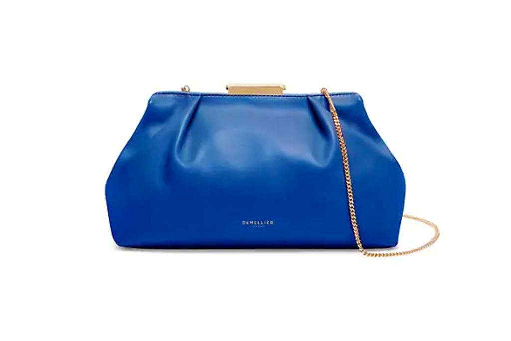 blue clutch bag, demellier