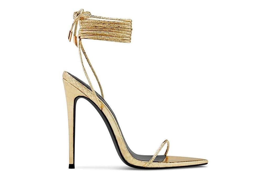 femme la, heels, gold, wrap