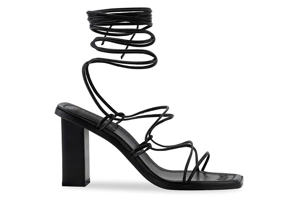 black sandals, wrap, heels, frame