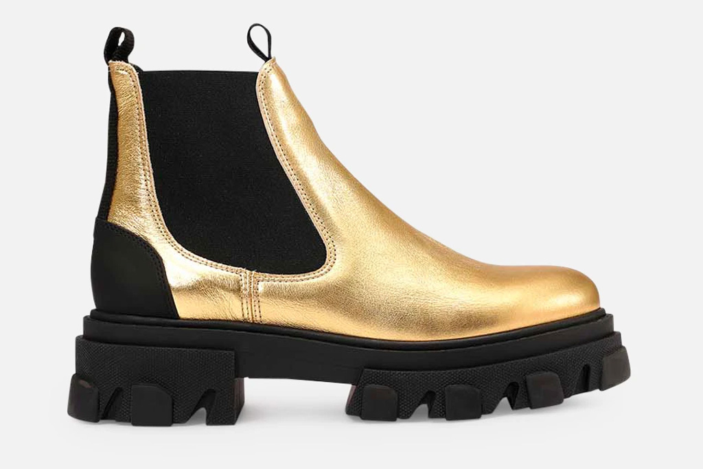 gold boots, ganni