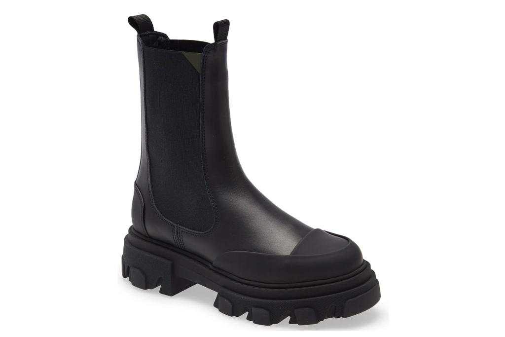 black boots, lug sole, ganni