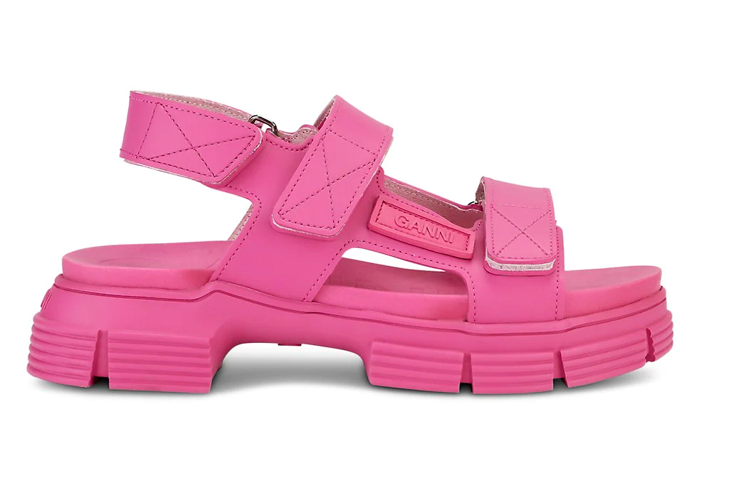 hot pink, sandals, slides, ganni