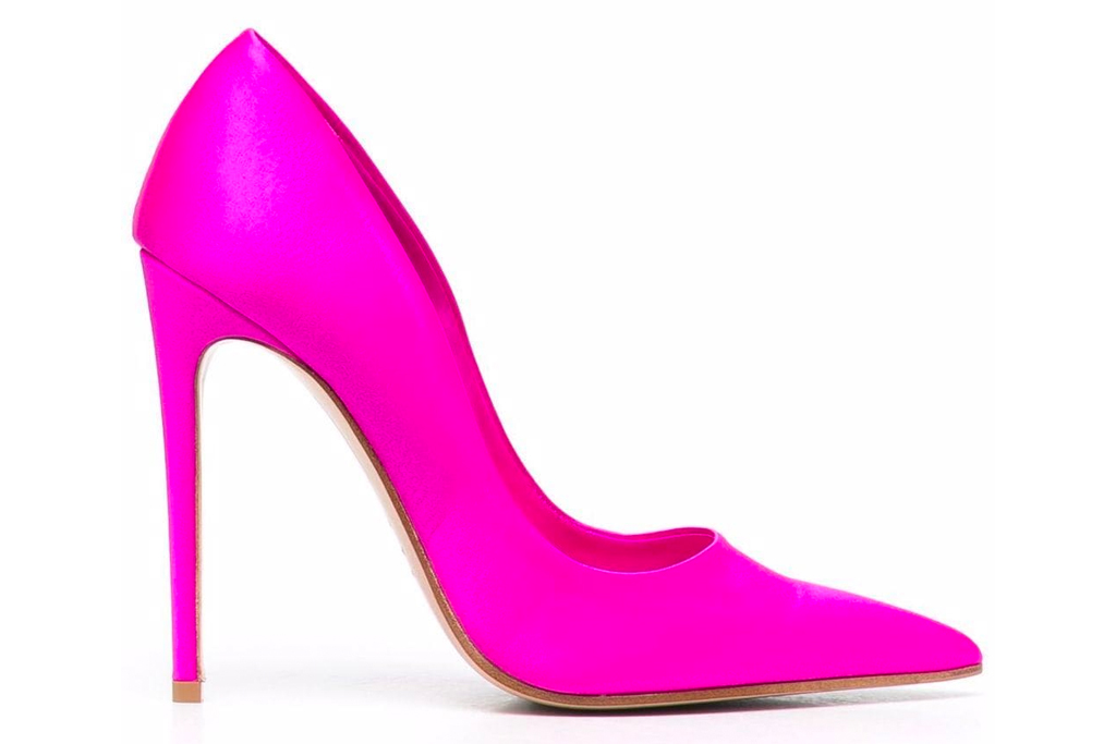 pink heels, pumps, pointed-toe heels, hot pink, gialiano