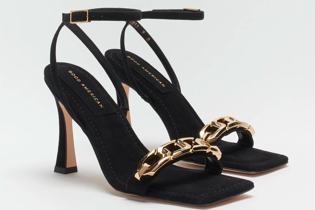 black heels, chain link, gold, good american