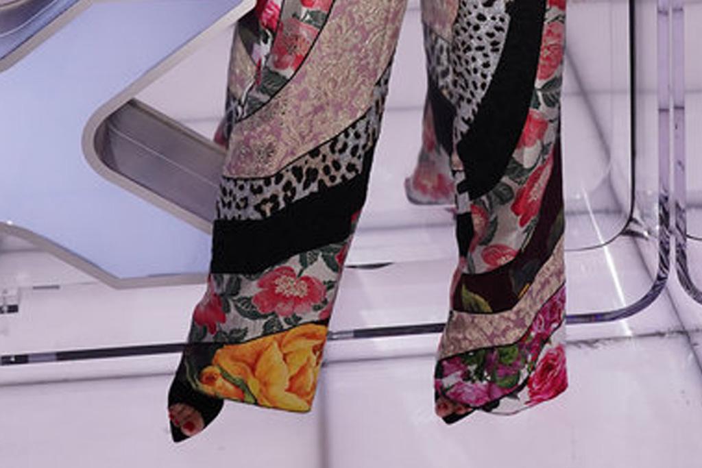 heidi klum, bralette, bustier, sweater, jacket, floral pants, heels, earrings, americas got talent, agt