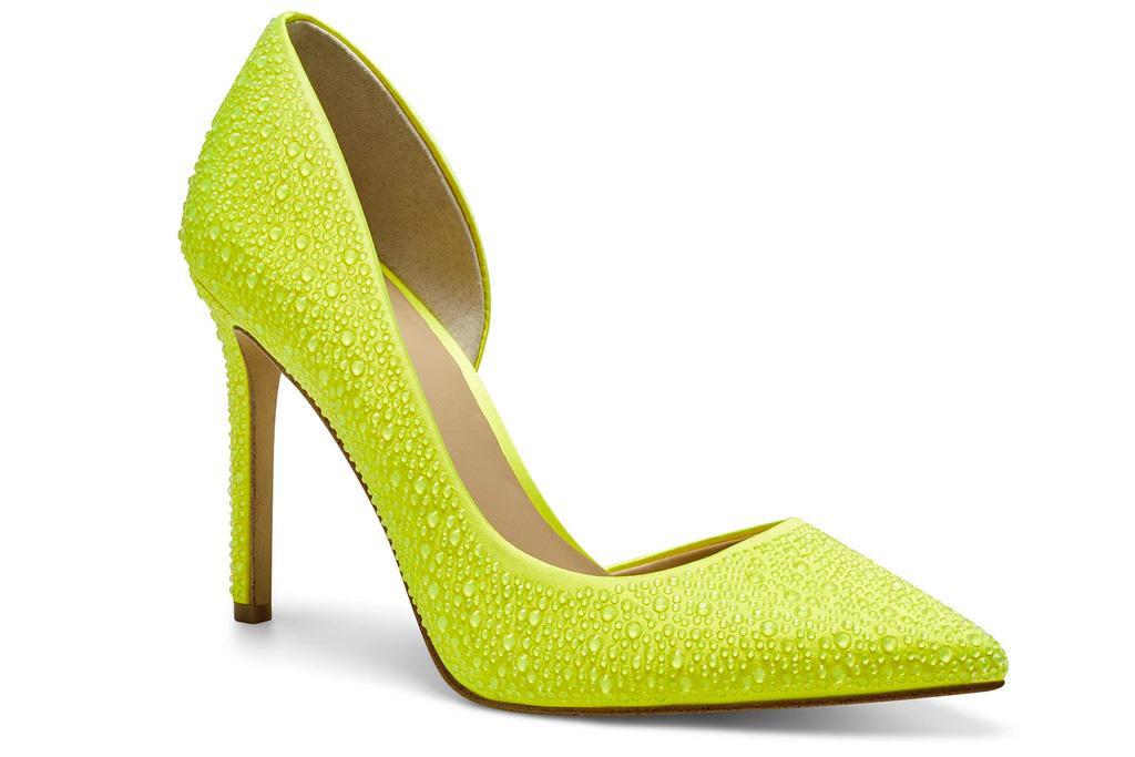 neon heels, pumps, green, yellow, inc