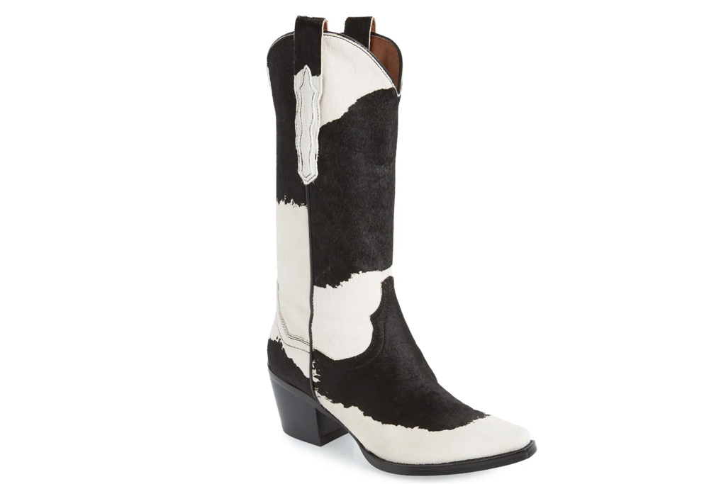 brown boots, cow print, jeffrey campbell