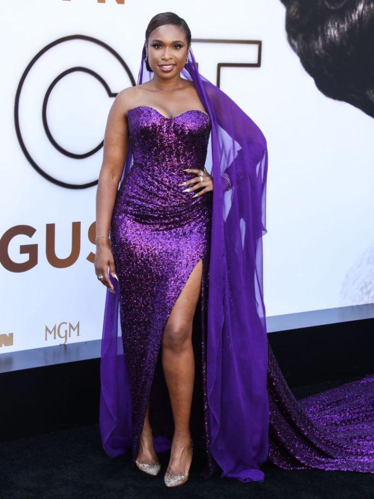 jennifer hudson, dress, purple gown, heels, respect movie, aretha franklin, louboutin, premiere, la