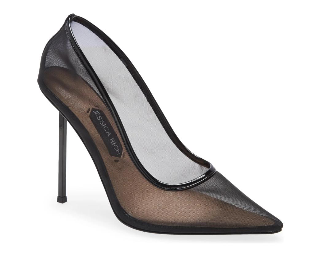 black heels, mesh pumps, jessica rich