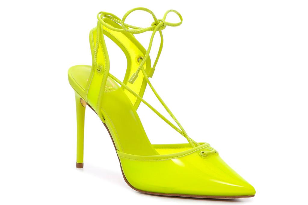 neon heels, pumps, green, yellow, jlo jennifer lopez