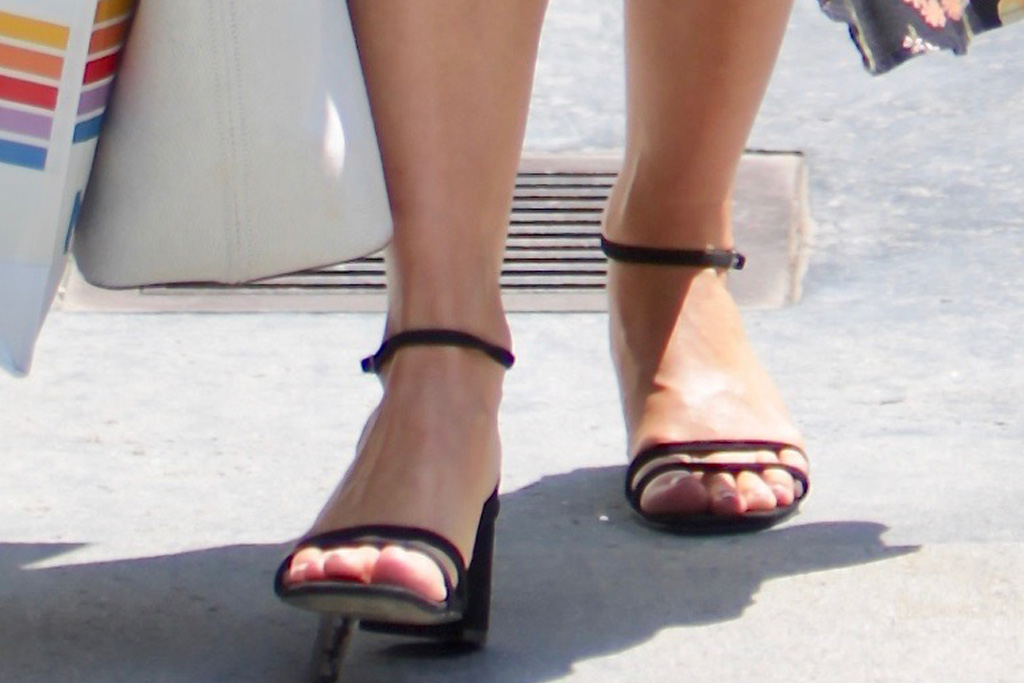 julianne hough, floral dress, long-sleeve dress, high-slit, legs, face mask, sunglasses, sandals, heels, la, day of indulgence