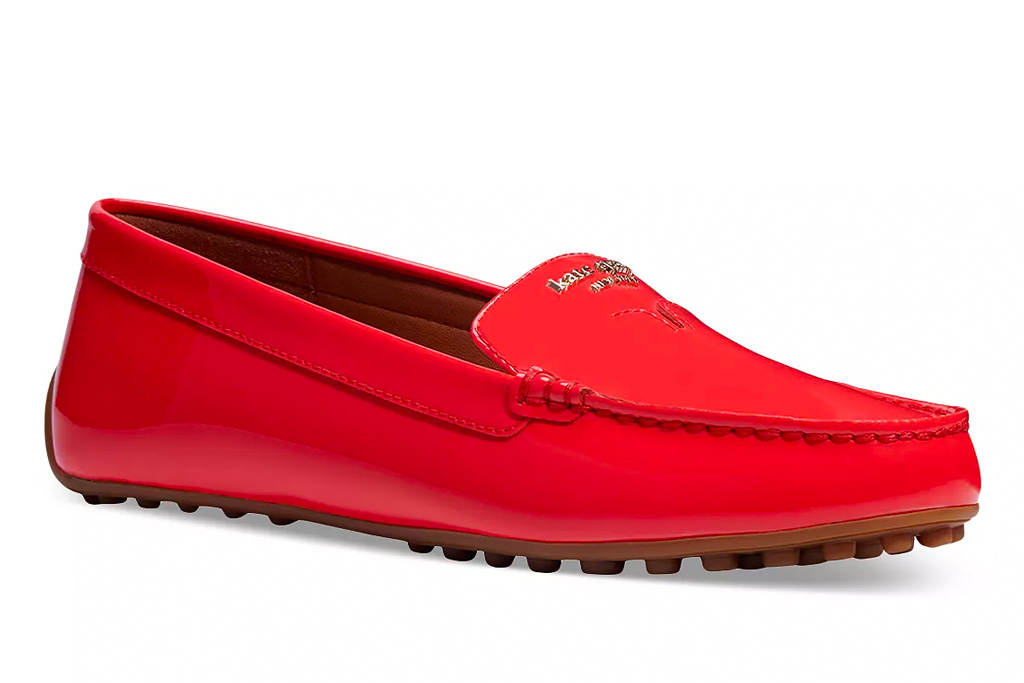 red loafers, leather, kate spade