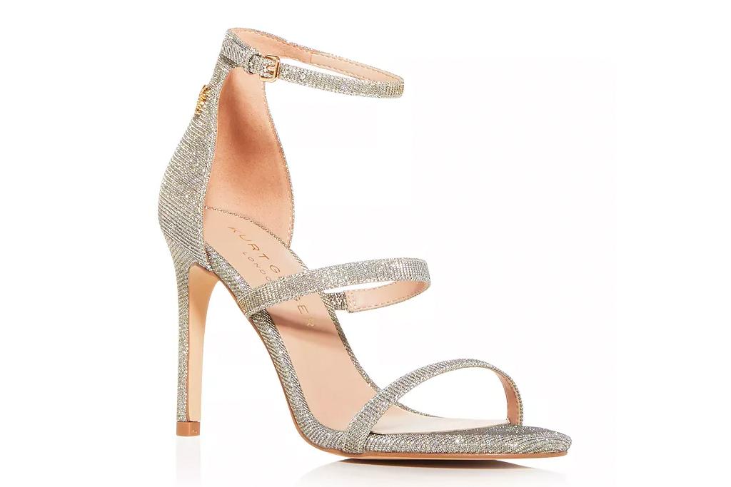 gold sandals, glitter, kurt geiger