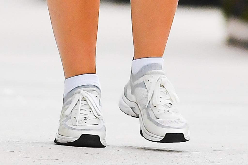 lily-rose depp, shorts, bodysuit, sneakers, chanel, sunglasses, new york, walk