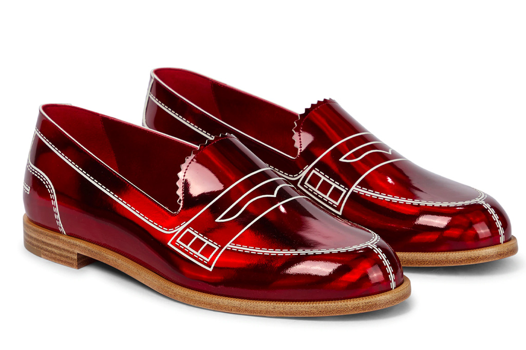 christian louboutin, red loafers, leather, patent