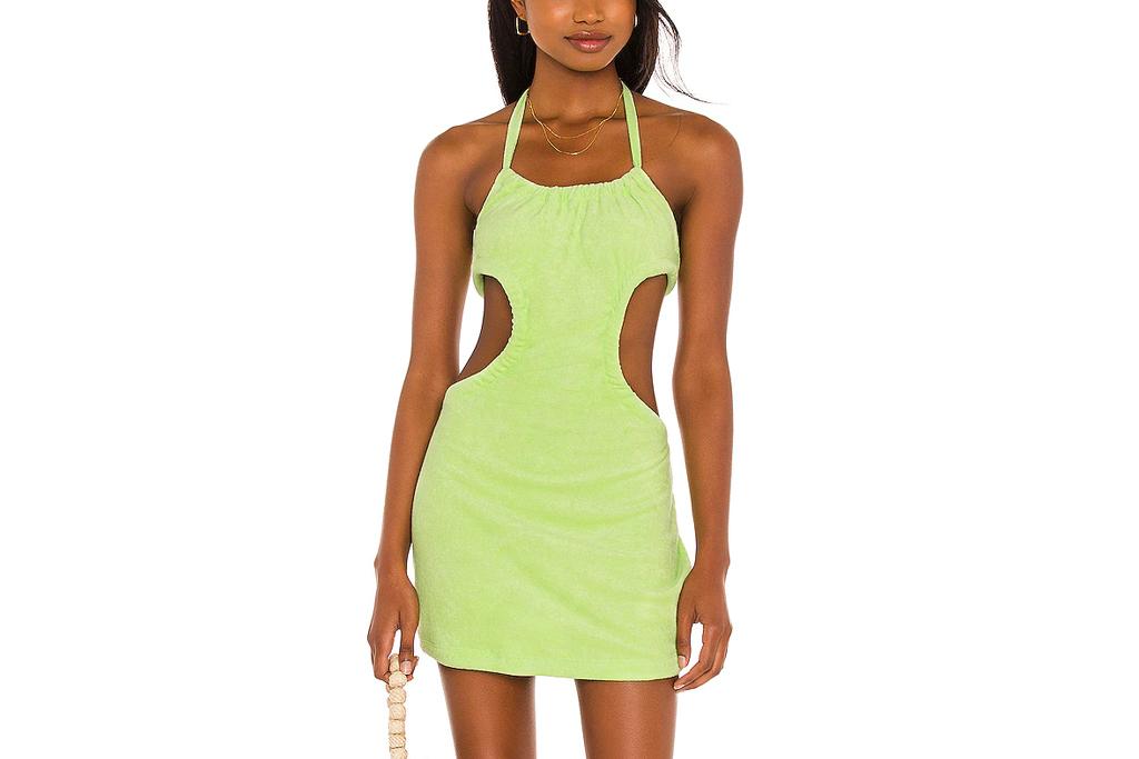 green dress, terry, lovers + friends