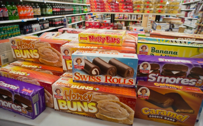 A selection of Little Debbie brand cakes in the grocery department in a store in New York on Sunday, January 29, 2012.  (© Richard B. Levine) Newscom/(Mega Agency TagID: lrphotos067289.jpg) [Photo via Mega Agency]