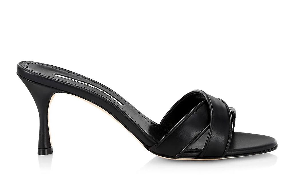 black heels, mules, peep toe, manolo blahnik