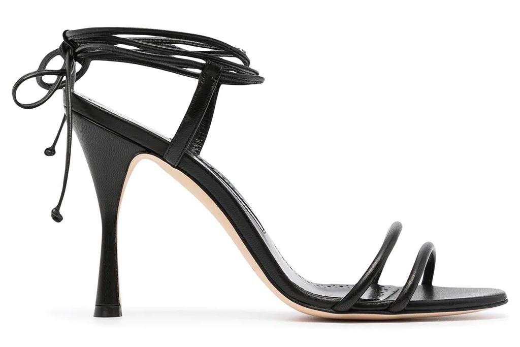 black heels, sandals, wraps, manolo blahnik