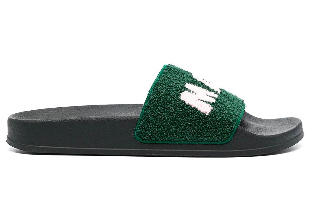 green slides, sandals, terry cloth, marni