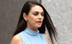 Mila Kunis, NYC, blue dress, heels,
