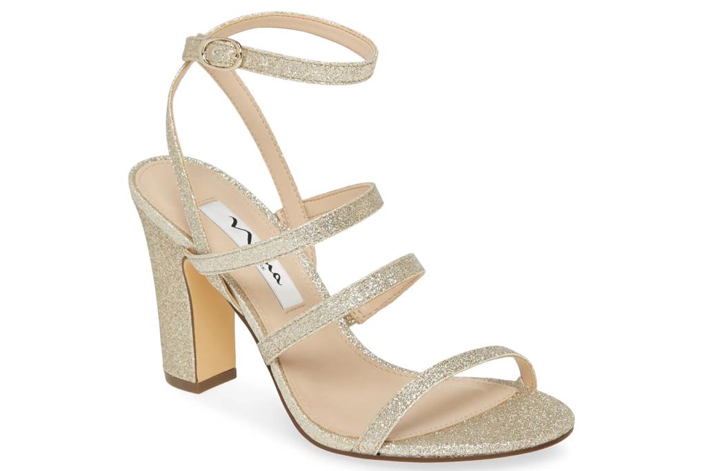 gold sandals, glitter, nina