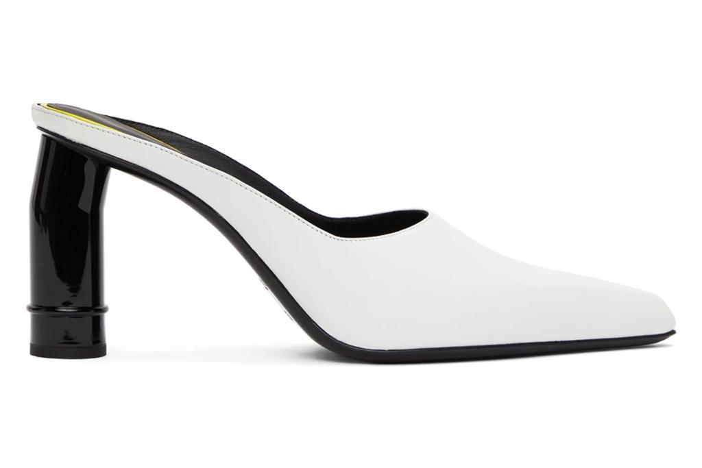 white mules, pointed toe, nina ricci