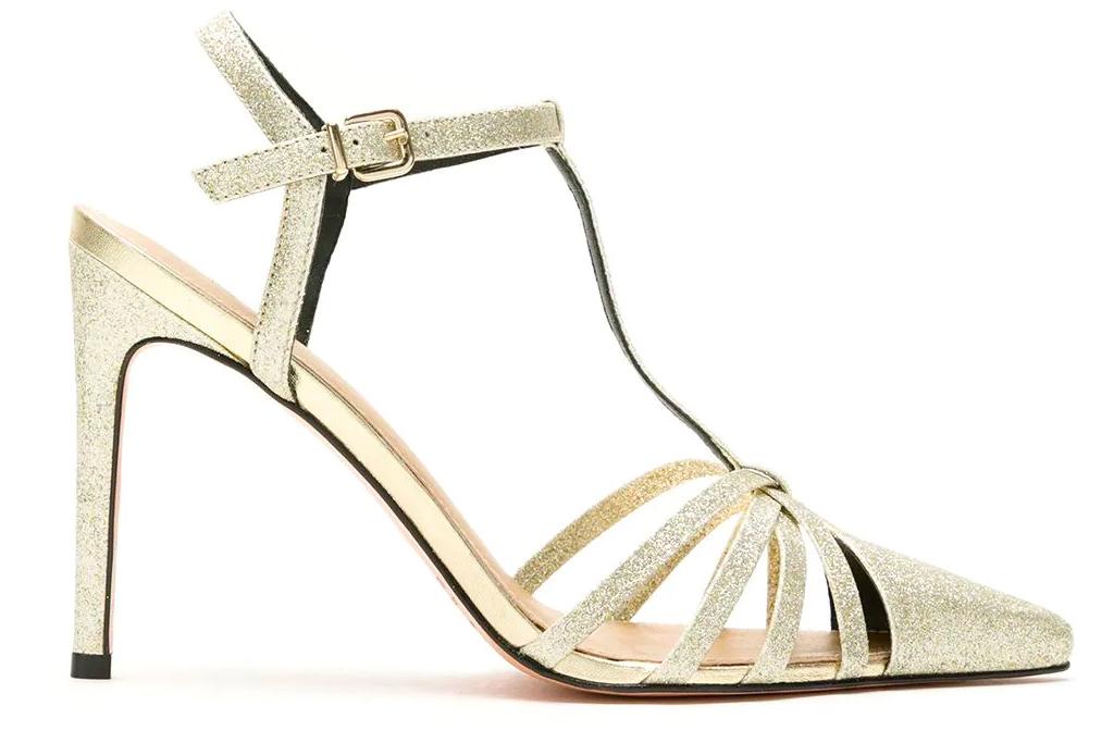 gold sandals, glitter, nk