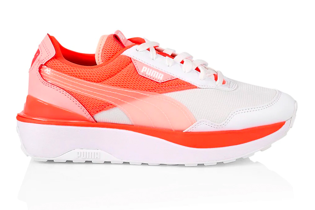orange sneakers, puma
