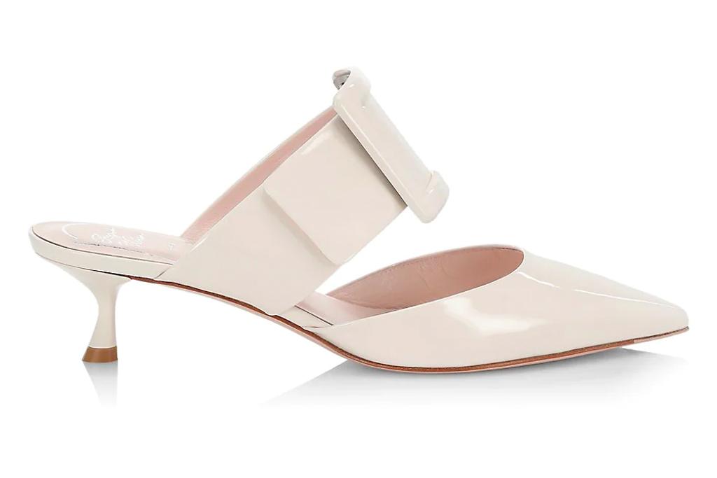 white mules, pointed toe, roger vivier