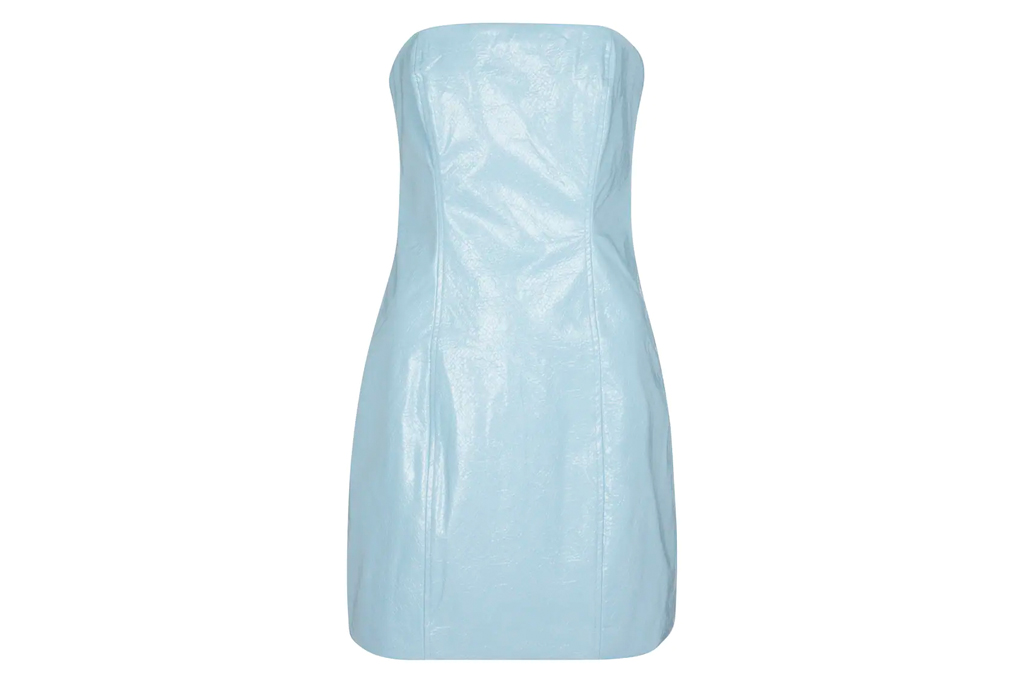 blue dress, bustier, leather, rotate