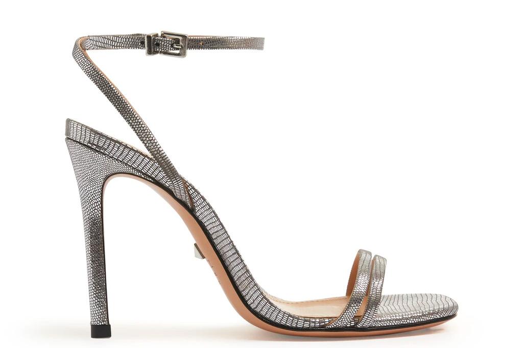 silver sandals, gray sandals, schutz