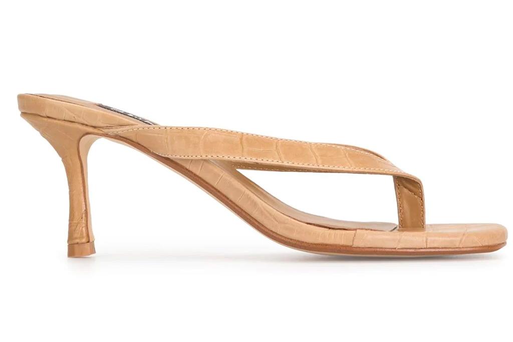 thong sandal, tan, heel, senso