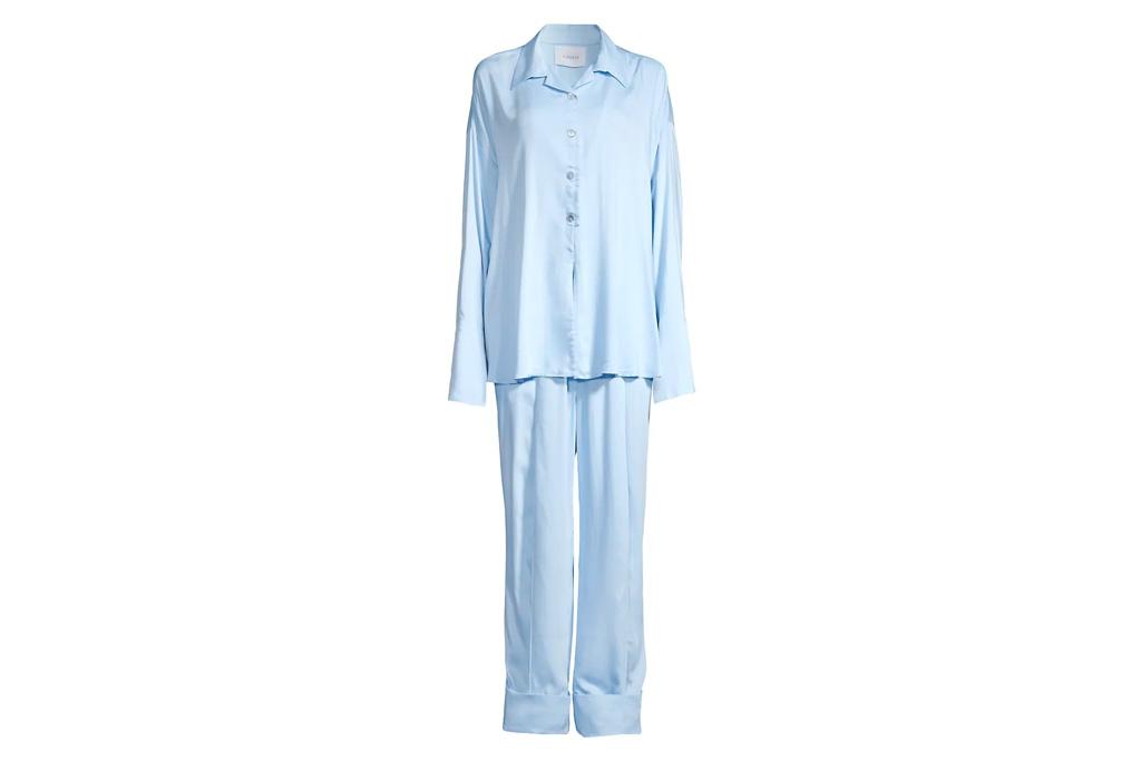 silk set, blue, pajamas, sleeper