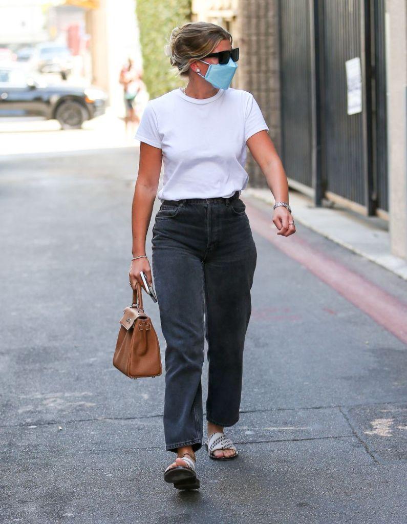 sofia richie, t-shirt, jeans, tee, sandals, purse, givenchy, la