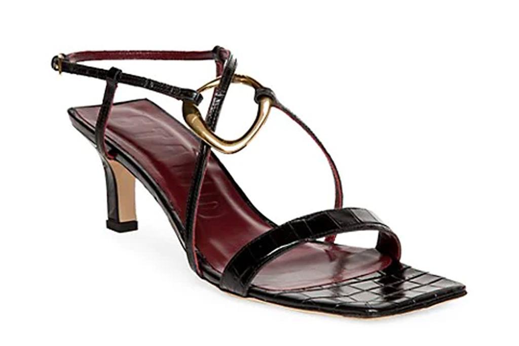 black sandals, thin strap, heels, square toe, staud