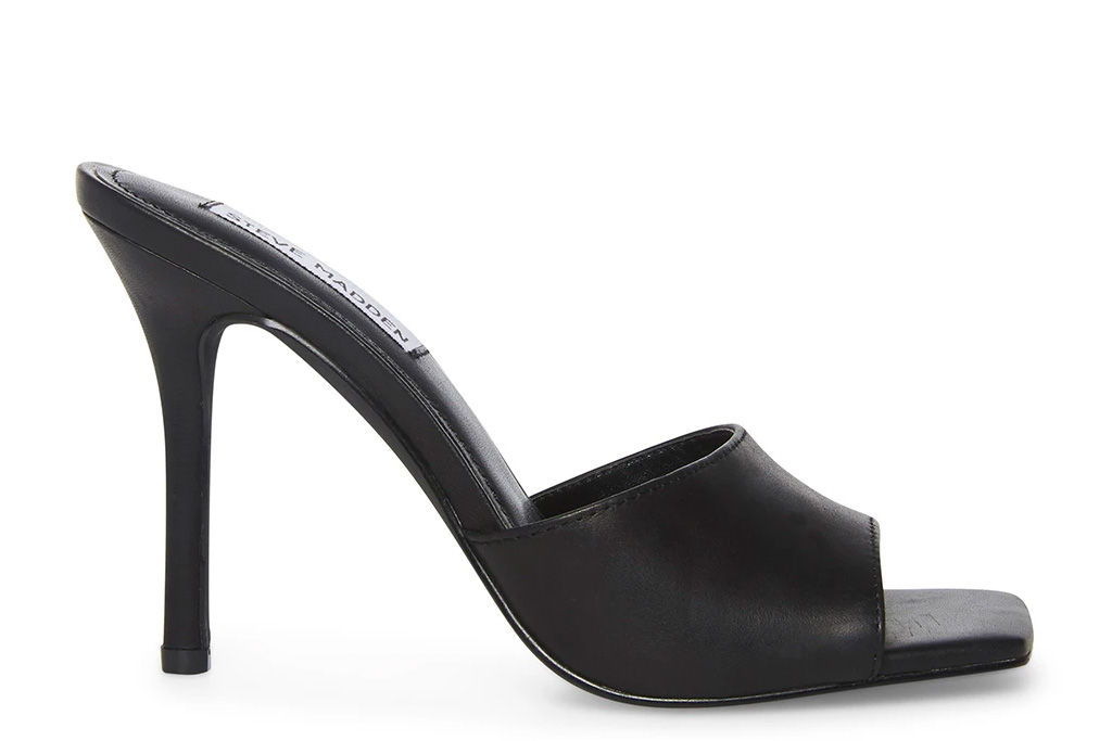 black heels, mules, peep toe, steve madden