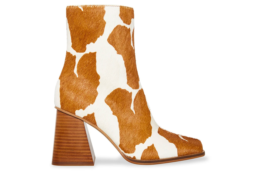 brown boots, cow print, steve madden