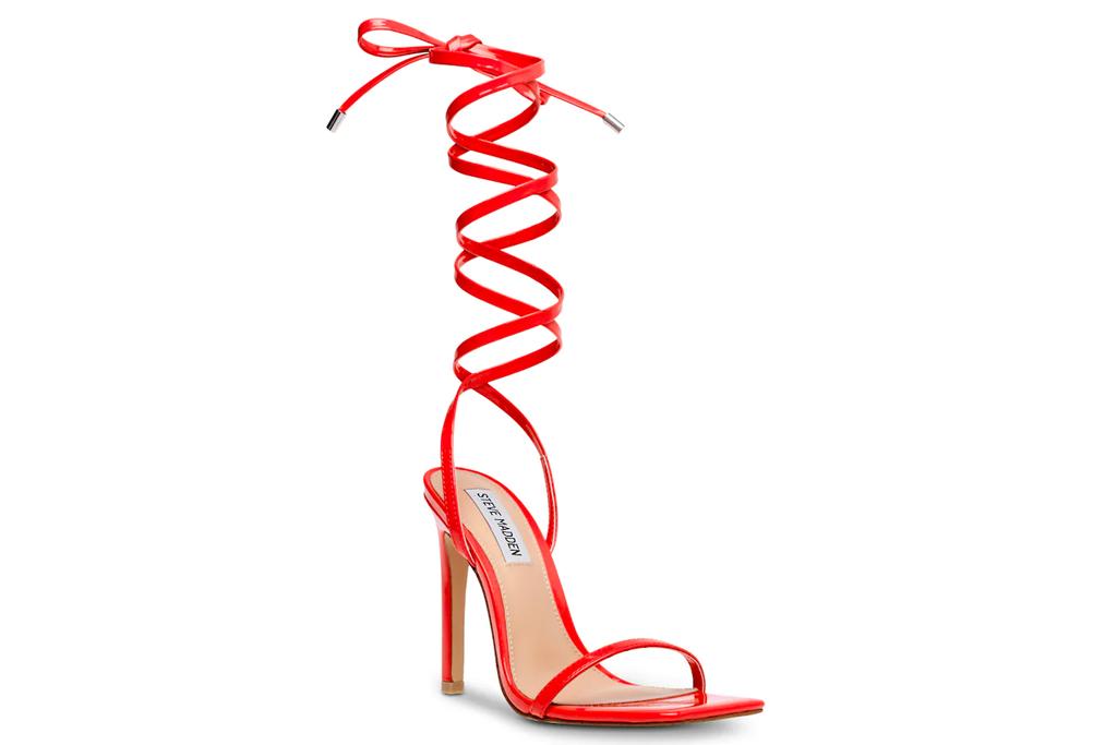 red sandals, heels, steve madden