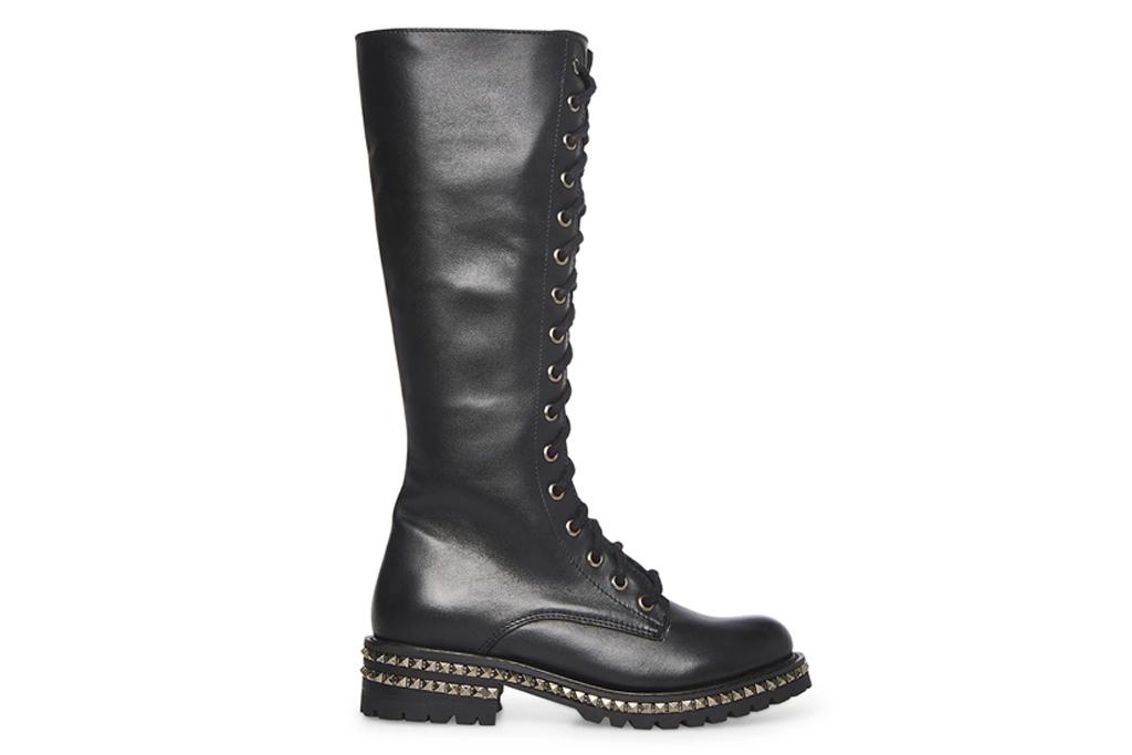 black boots, combat boots, knee high, steve madden