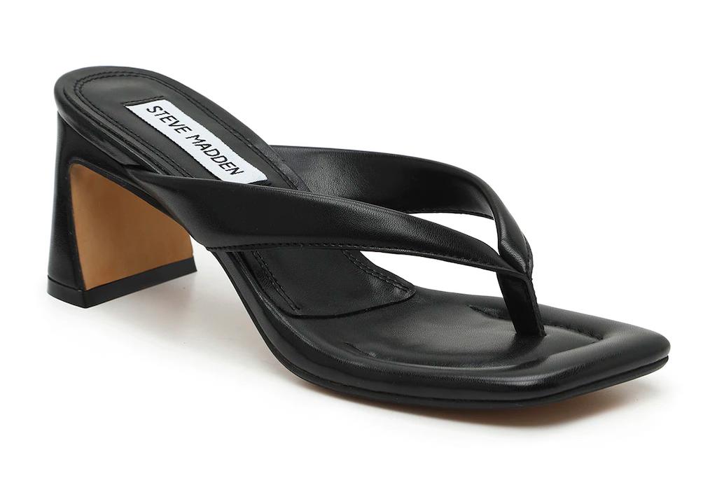 steve madden, thong heels, black