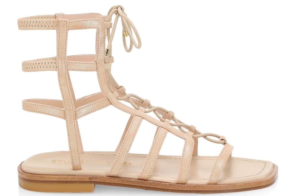gold sandals, gladiator sandals, stuart weitzman