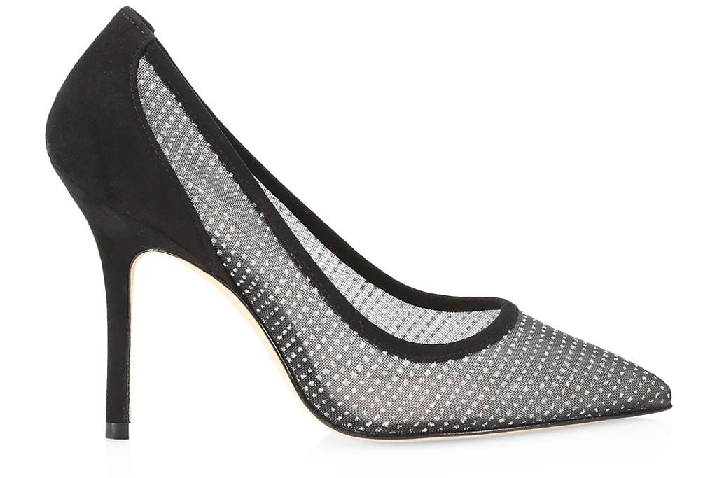 black heels, mesh pumps, stuart weitzman