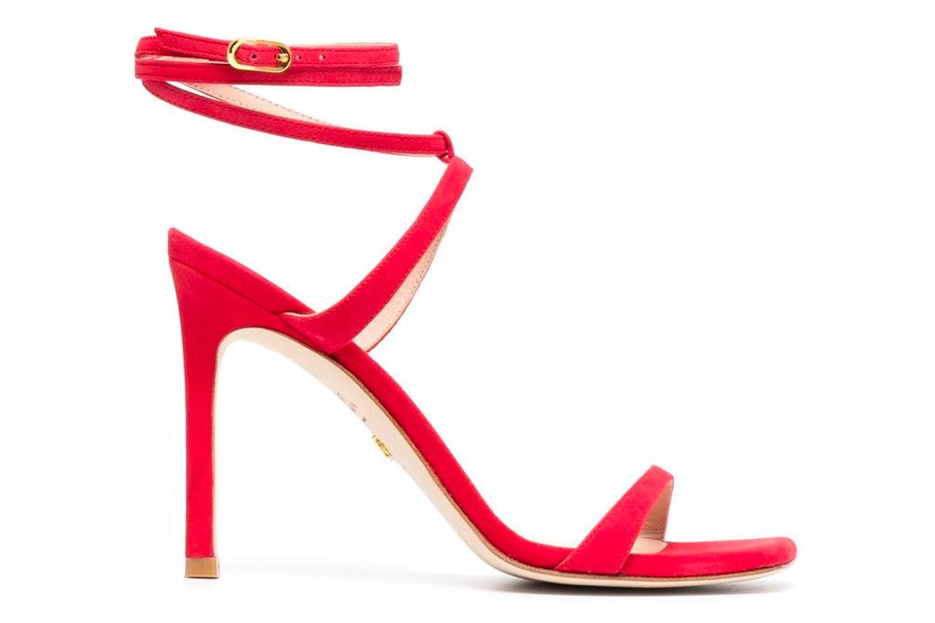 red sandals, heels, stuart weitzman