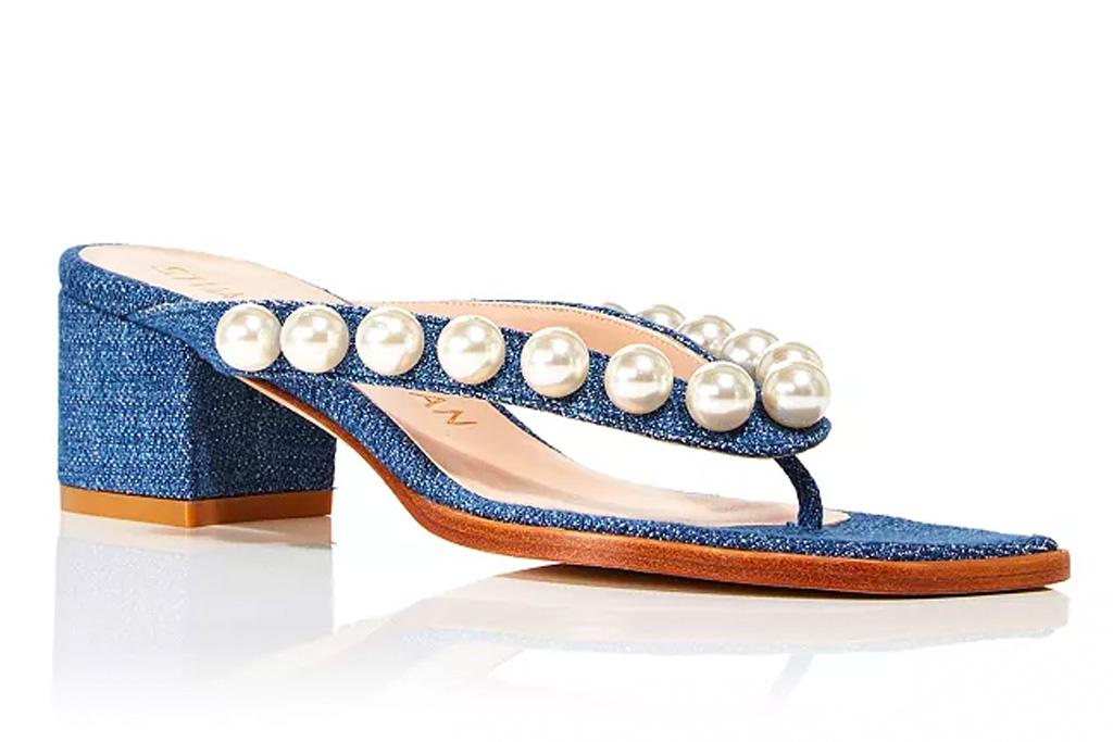 thong sandals, blue, heels, stuart weitzman