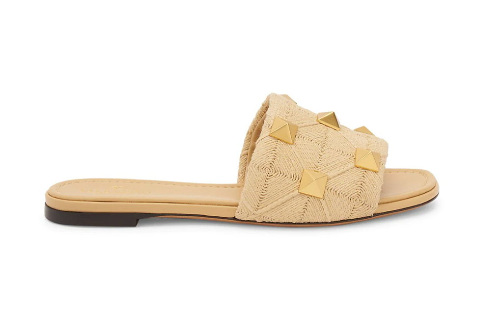 Valentino Garavani Roman Stud Woven Slide Sandals