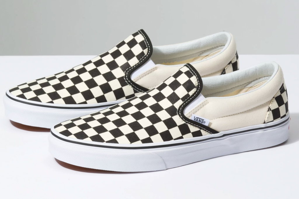 vans, sneakers, slip-on, checkered