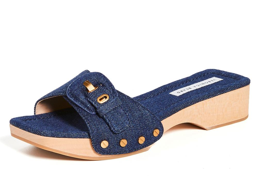 wooden clogs, sandals, veronica beard